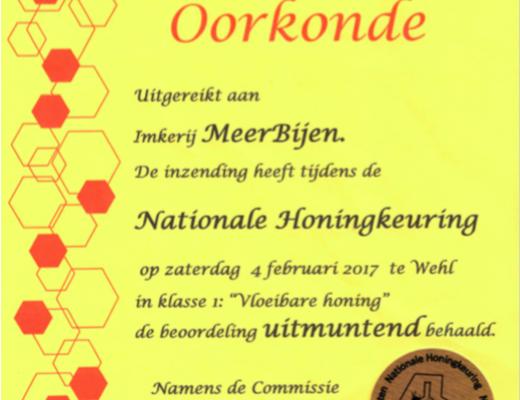 Oorkonde Nationale Honingkeuring